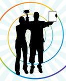 Dois vencedores novos com troféu e certificado Imagens de Stock