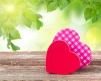 Dois vermelhos e corações cor-de-rosa Imagem de Stock Royalty Free