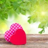 Dois vermelhos e corações cor-de-rosa Imagens de Stock Royalty Free