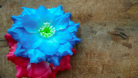 Dois vermelhos e flores azuis do algodão artificial Fotografia de Stock Royalty Free