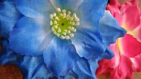 Dois vermelhos e flores azuis do algodão artificial Imagem de Stock
