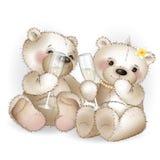 Dois vidros bebendo do urso dos amantes com champanhe Imagem de Stock Royalty Free