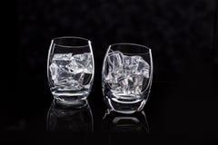 Dois vidros com gelo Imagens de Stock