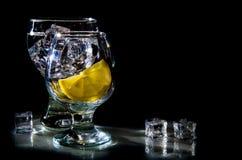 Dois vidros da água e do limão Imagens de Stock Royalty Free