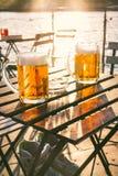 Dois vidros da cerveja clara com espuma em uma tabela de madeira Em um barco Partido de jardim Fundo natural álcool Cerveja de es Imagens de Stock Royalty Free