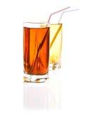 Dois vidros da limonada fresca isolados no fundo branco Imagens de Stock