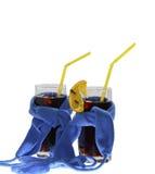 Dois vidros da obscuridade mulled do vinho - lenços azuis Foto de Stock Royalty Free