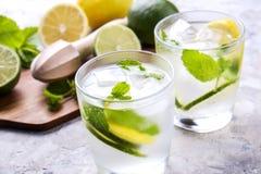 Dois vidros de refrescar a bebida não alcoólica da limonada do mojito com limão orgânico, fatias do cal, folhas de hortelã, palha foto de stock royalty free