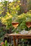 Dois vidros de vinho cor-de-rosa frios serviram no terraço exterior no jardim w Fotografia de Stock Royalty Free