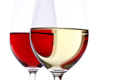 Dois vidros de vinho isolados no branco Foto de Stock Royalty Free