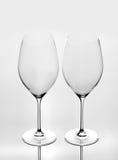 Dois vidros de vinho vazios Imagens de Stock Royalty Free