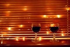 Dois vidros de vinho vermelho Foto de Stock Royalty Free