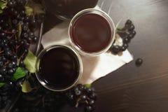 Dois vidros do suco fresco do melanocarpa preto de Aronia das bagas do chokeberry perto dos ramos com bagas pretas Vista superior fotografia de stock