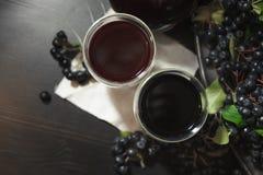 Dois vidros do suco fresco do melanocarpa preto de Aronia das bagas do chokeberry perto dos ramos com bagas pretas Vista superior foto de stock royalty free