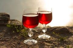 Dois vidros do vinho Imagens de Stock
