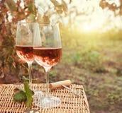 Dois vidros do vinho cor-de-rosa no vinhedo do outono Fotografia de Stock