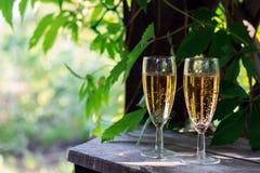Dois vidros do vinho espumante branco Fotos de Stock