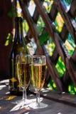 Dois vidros do vinho espumante branco Imagens de Stock Royalty Free