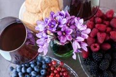 Dois vidros do vinho seco vermelho serviram com bagas e cookies, violetrs Fotografia de Stock