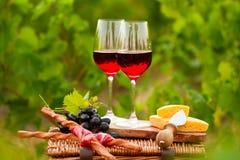 Dois vidros do vinho tinto com pão, carne, uva e queijo no th Fotos de Stock
