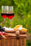 Dois vidros do vinho tinto com pão, carne, uva e queijo no th Fotografia de Stock Royalty Free