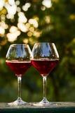 Dois vidros do vinho tinto na tabela Fotografia de Stock
