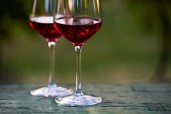 Dois vidros do vinho tinto na tabela no vinhedo Imagem de Stock