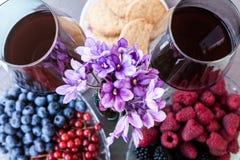 Dois vidros do vinho tinto servidos com bagas Foto de Stock Royalty Free