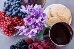 Dois vidros do vinho tinto serviram com bagas e cookies Imagem de Stock