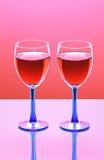 Dois vidros do vinho vermelho Fotos de Stock