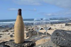 Dois vidros e garrafas de vinho na praia tropical agradável Foto de Stock Royalty Free