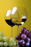 Dois vidros e um frasco do vinho Fotografia de Stock Royalty Free