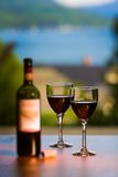 Dois vidros e uma garrafa do vinho tinto. Imagens de Stock Royalty Free