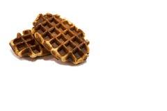 Dois waffles doces no fundo branco Imagem de Stock