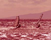 Dois windsurfers competem no crepúsculo fotos de stock