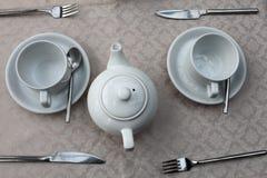 Dois xícaras de chá e bules Fotos de Stock