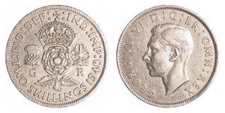 Dois xelins britânicos velhos de moeda Fotos de Stock