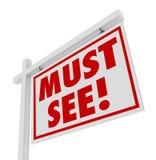Doit voir la maison de Real Estate à vendre le signe de Chambre ouverte Images libres de droits