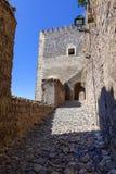 Dojazdowa rampa wieża obserwacyjna średniowieczny kasztel Castelo De Vide Zdjęcie Stock