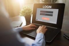 Dojazdowy okno Wchodzić do nazwę użytkownika i hasło Cyber ochrona Ewidencyjna prywatność Interneta i technologii pojęcie zdjęcie stock