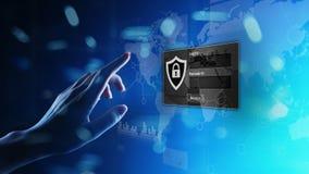 Dojazdowy okno z nazw? u?ytkownik? i has?em na wirtualnym ekranie Cyber ochrona i og?oszenia towarzyskiego ochrona danych poj?cie zdjęcie stock