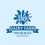 Dojna ikona Mleko, jogurt lub kremowy kleks, Dojny loga szablon royalty ilustracja