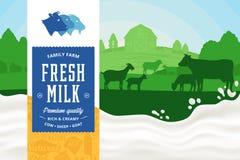 Dojna ilustracja krajobrazu wiejskiego plusk mleka ilustracji