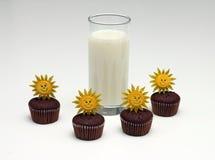 Dojni i czekoladowi muffins Zdjęcia Stock