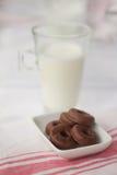 Dojni i mali czekoladowi donuts Zdjęcia Stock