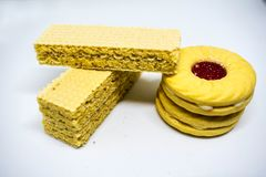 Dojny opłatkowy smak, projekt dla Crispy opłatkowego pojęcia zdjęcie stock