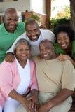 Dojrzała amerykanin afrykańskiego pochodzenia para i ich dorosli dzieciaki zdjęcie stock
