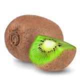 Dojrzała cała kiwi owoc i połówka kiwi owoc odizolowywająca na białym tle Zdjęcia Royalty Free