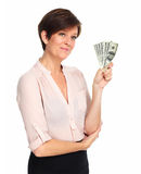 Dojrzała kobieta z amerykańskim dolara pieniądze Zdjęcie Stock