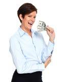 Dojrzała kobieta z amerykańskim dolara pieniądze Zdjęcia Stock